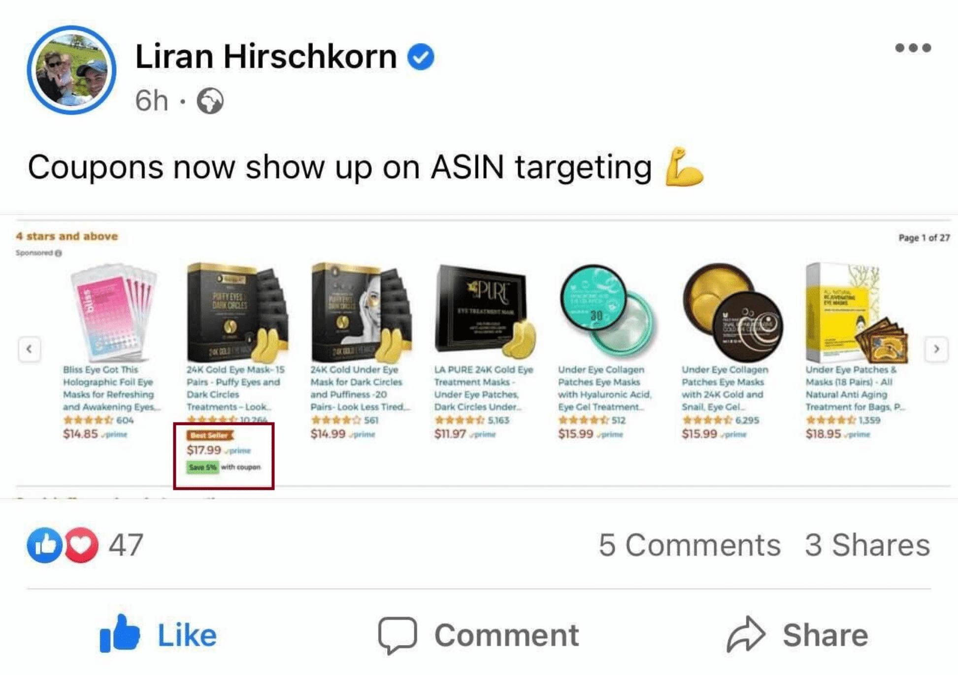 Coupons in ASIN targeting